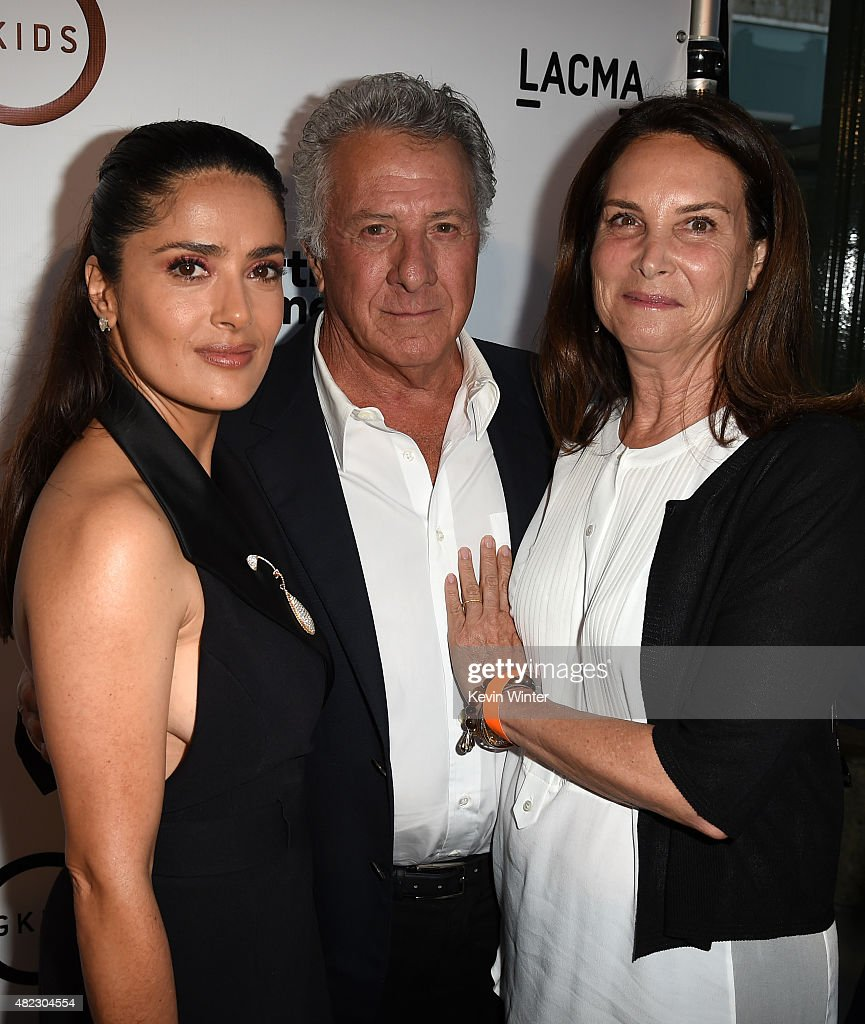 Actress/producer Salma Hayek Pinault, actor Dustin Hoffman and Lisa Hoffman attend the screening of GKIDS' 'Kahlil Gibran's the Prophet' at Bing Theatre at LACMA on July 29, 2015 in Los Angeles, California.