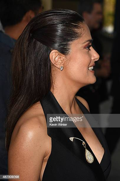 Actress/producer Salma Hayek Pinault attends the screening of GKIDS' 'Kahlil Gibran's the Prophet' at Bing Theatre at LACMA on July 29 2015 in Los...