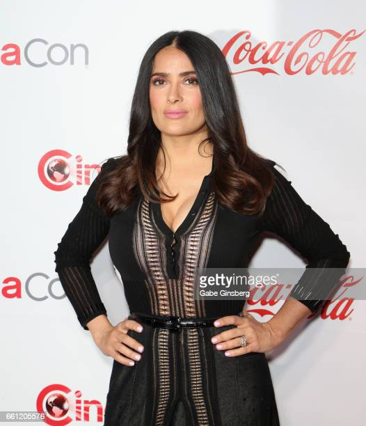 Actress/producer Salma Hayek, recipient of the CinemaCon Vanguard Award, attends the CinemaCon Big Screen Achievement Awards at Omnia Nightclub at...