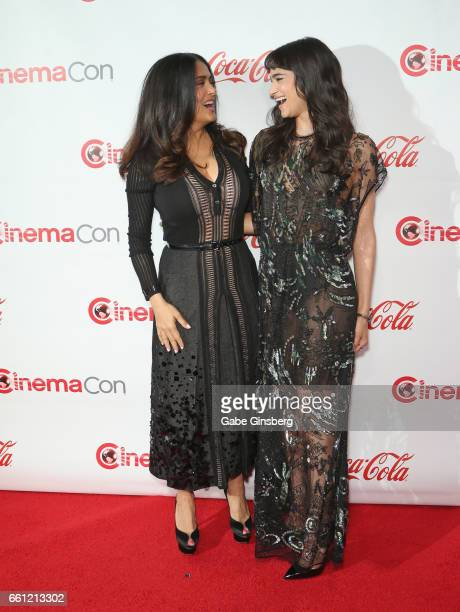 Actress/producer Salma Hayek , recipient of the CinemaCon Vanguard Award, and actress/dancer Sofia Boutella, recipient of the Female Star of Tomorrow...