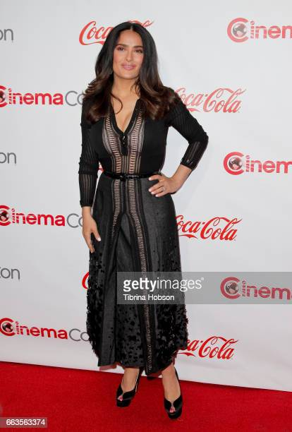 Actress/producer Salma Hayek recipient of the CinemaCon Vanguard Award attends the CinemaCon Big Screen Achievement Awards at Omnia Nightclub at...
