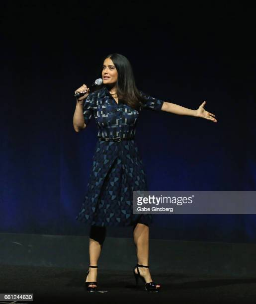 Actress/producer Salma Hayek speaks during the Lionsgate 2017 A sneak peek into the future presentation at The Colosseum at Caesars Palace during...