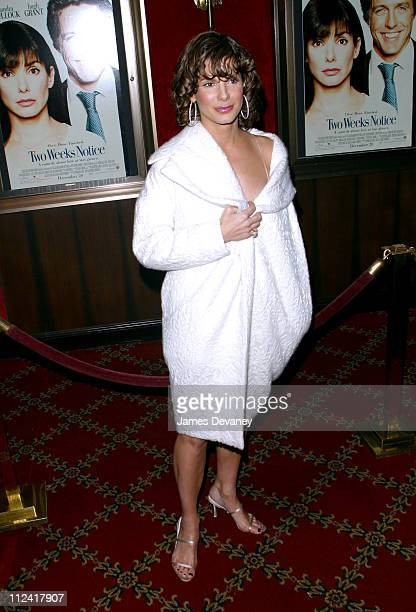 Actress/producer Sandra Bullock during 'Two Weeks Notice' Premiere New York at The Ziegfeld in New York City New York United States