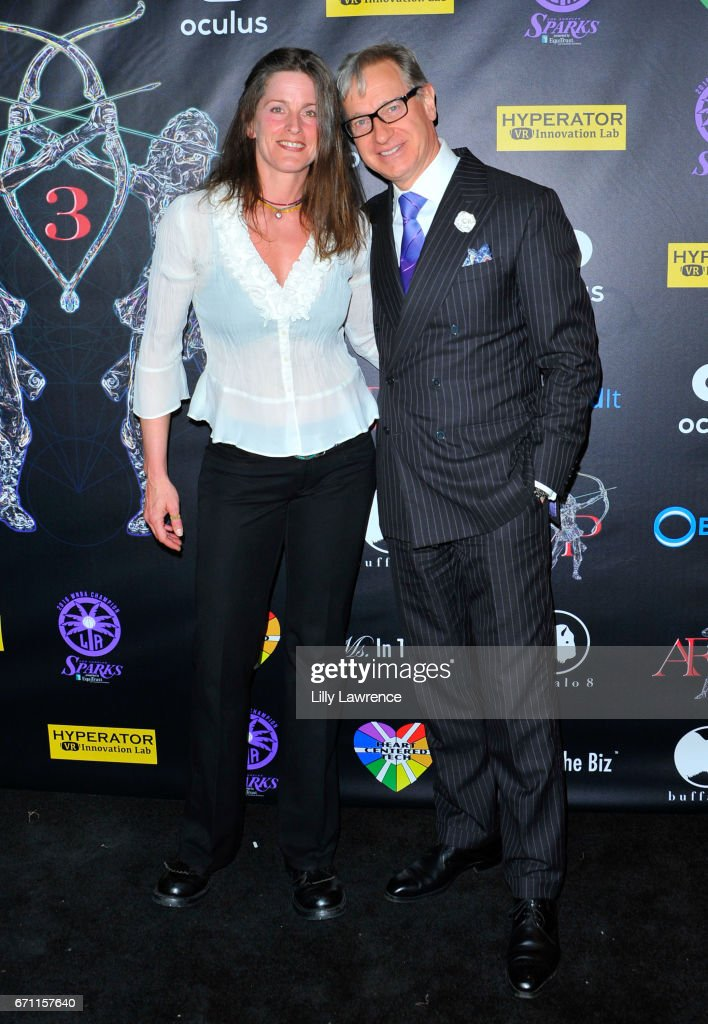 Actress/producer/founder of Artemis Women In Action Film Festival Melanie Wise and actor/producer/director Paul Feig attends Artemis Women In Action Film Festival at Laemmle's Ahrya Fine Arts Theatre on April 20, 2017 in Beverly Hills, California.