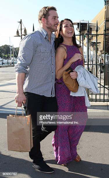 Actress/Radio presenter Kate Ritchie celebrates her birthday with her boyfriend, Stuart Webb at the Woolloomooloo Wharf today on August 14, 2009 in...