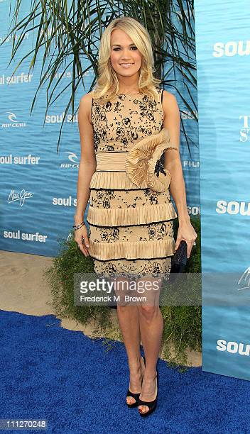 Actress/recording artist Carrie Underwood attends the premiere of TriStar Pictures' Soul Surfer at the ArcLight Cinerama Dome on March 30 2011 in...