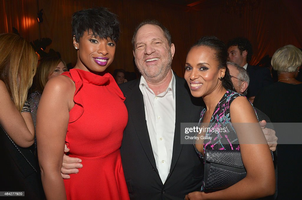 Actress/recording artist Jennifer Hudson, Co-Chairman of The Weinstein Company Harvey Weinstein, and actress Kerry Washington attend The Weinstein Company's Academy Awards Nominees Dinner in partnership with Chopard, DeLeon Tequila, FIJI Water and MAC Cosmetics on February 21, 2015 in Los Angeles, California.