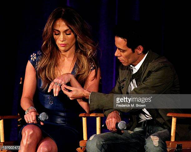 Actress/recording artist Jennifer Lopez and recording artist Marc Anthony attend the 2012 Winter Television Critics Association Press Tour at The...