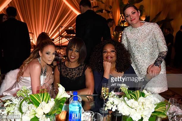 Actress/recording artist Jennifer Lopez TV personality Gayle King producer/actress Oprah Winfrey and actress Marion Cotillard attend The Weinstein...
