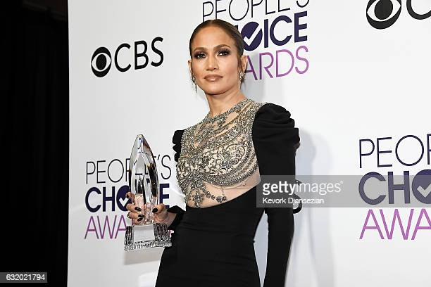 """Actress/recording artist Jennifer Lopez, winner of Favorite TV Crime Drama Actress award for """"Shades of Blue"""" poses in the press room at the People's..."""