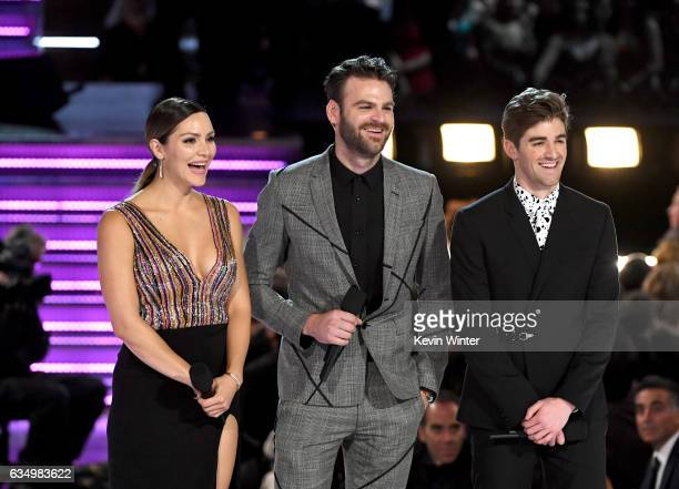 Actressrecording artist Katharine McPhee and recording artists Alex Pall and Andrew Taggart of music group The Chainsmokers speak onstage during The...