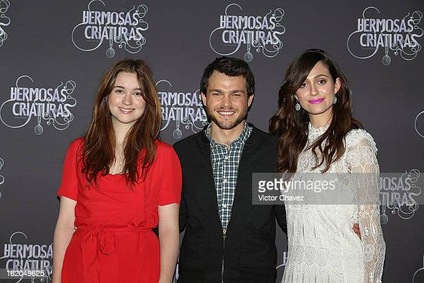 Actresss Alice Englert actor Alden Ehrenreich and actress Emmy Rossum attend the 'Beautiful Creatures' Mexico City photocall at St Regis Hotel on...
