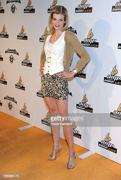Actresss Angel McCord arrives at the David Arquette Presents Beacher's Madhouse Screening Of 'The Legend Of Hallowdega' at the The Roosevelt Hotel on...