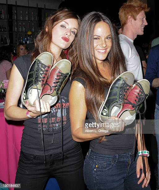 Actresss Ashlynn Yennie and actress Sarah Butlerparticipate in the 7th Annual Bowling For Boobies Event held at Jillian's Universal Citywalk on...