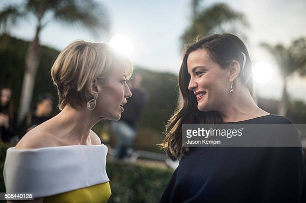 Actress's Carrie Coon and Liv Tyler attend the 21st Annual Critics' Choice Awards at Barker Hangar on January 17 2016 in Santa Monica California