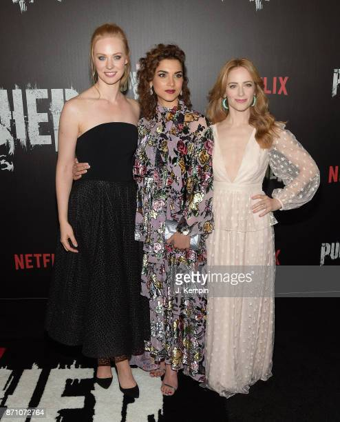 Actress's Deborah Ann Woll Amber Rose Revah and Jaime Ray Newman attend the 'Marvel's The Punisher' New York Premiere on November 6 2017 in New York...