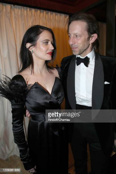 Actresss Eva Green and a guest attend Cesar Film Award 2020 Dinner at Le Fouquet's on February 28, 2020 in Paris, France.