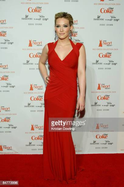 Actresss Hilary Duff poses backstage at the Heart Truth Red Dress Collection 2009 fashion show during MercedesBenz Fashion Week at The Tent in Bryant...