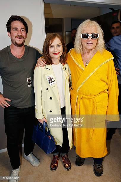 Actresss Isabelle Huppert and her Son Lorenzo Chammah and Singer Michel Polnareff attend Michel Polnareff New Tour in France at AccorHotels Arena on...