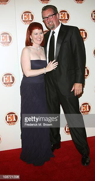 Actresss Kate Flannery and photographer Chris Haston attend the 2010 Entertainment Tonight Emmy Party at Vibiana on August 29 2010 in Los Angeles...
