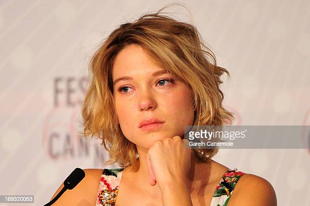 Actresss Lea Seydoux attends the 'La Vie D'Adele' press conference at The 66th Annual Cannes Film Festival at the Palais des Festival on May 23 2013...