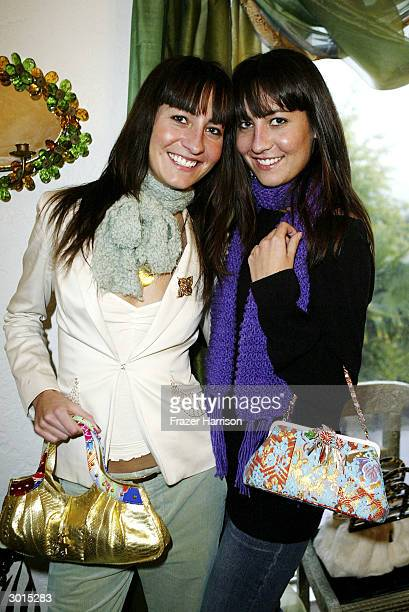 Actress's Nikki Collins and Teena Collins at the Shizue handbag Oscar preview launch party hosted by Tamara Beckwith and sponsored by Moet and...