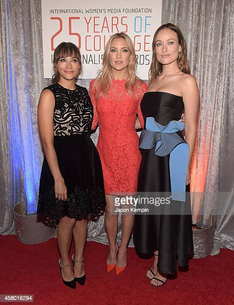 Actress's Rashida Jones Kate Hudson and Olivia Wilde attend the IWMF Courage In Journalism Awards at The Beverly Hilton Hotel on October 28 2014 in...