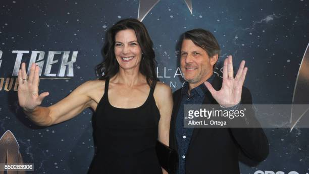Actresss Terry Farrell and filmmaker Adam Nimoy arrive for the premiere of CBS's Star Trek Discovery held at The Cinerama Dome on September 19 2017...