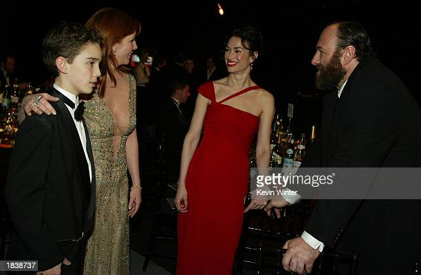 Actress/SAG President Melissa Gilbert and her son Dakota talk to actor James Gandolfini and his date during the 9th Annual Screen Actors Guild Awards...