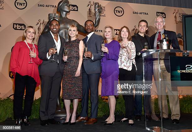 Actress/SAGAFTRA Executive Vice President Gabrielle Carteris actors Anthony Mackie and Anna Faris actress/SAG Awards Committee Chair JoBeth Williams...