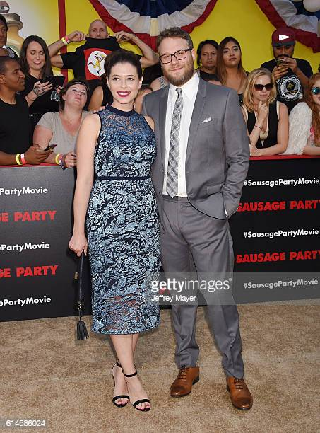 Actress/screenwriter Lauren Miller and actor/producer/writer Seth Rogen arrive at the Premiere Of Sony's 'Sausage Party' at Regency Village Theatre...
