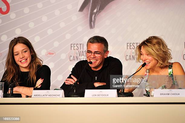 Actressses Adele Exarchopoulo director Abdellatif Kechiche and Lea Seydoux attend the 'La Vie D'Adele' press conference at The 66th Annual Cannes...