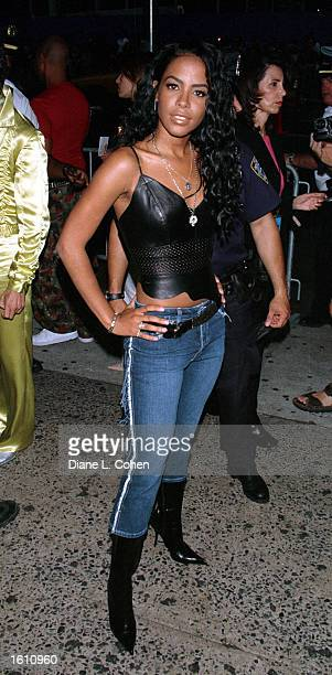 Actress/singer Aaliyah attends MTV''s 20th Anniversary Party August 1 2001 at New York City''s Hammerstein Ballroom Aaliyah and eight others died in...