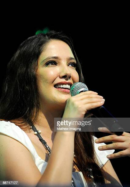 COVERAGE*** Actress/Singer Adela Noriega speaks in the Golden Bear Theater at Six Flags Magic Mountain on June 28 2009 in Valencia California