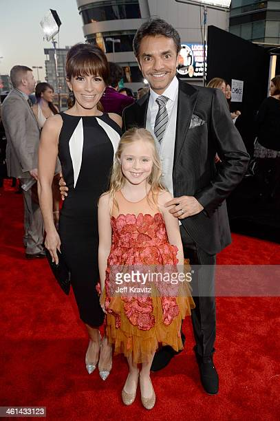 Actress/singer Alessandra Rosaldo actor Eugenio Derbez and actress Loreto Peralta attend The 40th Annual People's Choice Awards at Nokia Theatre LA...