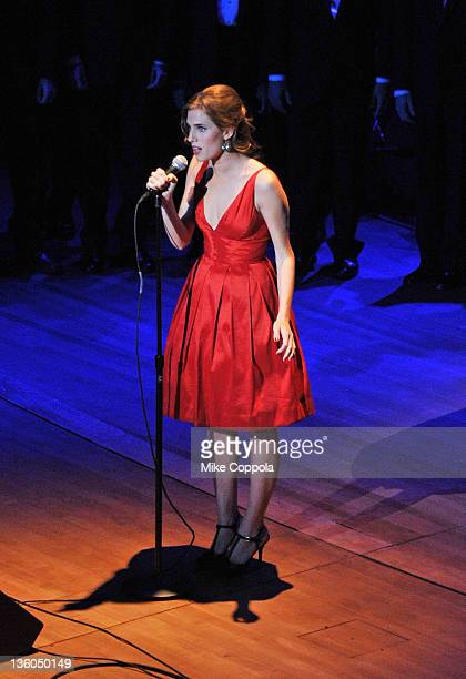 Actress/singer Allison Williams performs during the Sing Out Raise Hope benefit concert at Alice Tully Hall Lincoln Center on December 17 2011 in New...