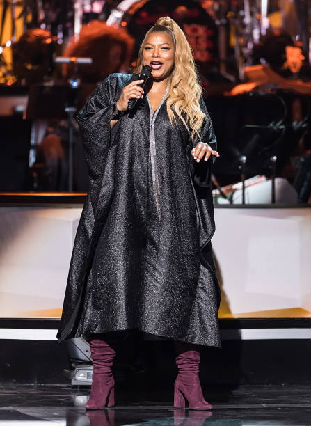 Actress/singer and 2018 Black Girls Rock host Queen Latifah speaks on stage during the 2018 Black Girls Rock at New Jersey Performing Arts Center on...