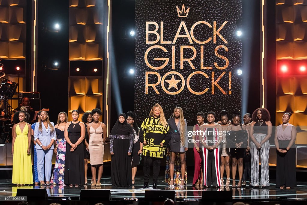Actress/singer and 2018 Black Girls Rock! host Queen Latifah (C) speaks on stage during the 2018 Black Girls Rock! at New Jersey Performing Arts Center on August 26, 2018 in Newark, New Jersey.