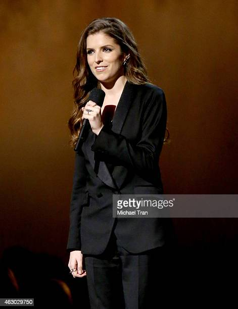 Actress/singer Anna Kendrick speaks onstage during The 57th Annual GRAMMY Awards at STAPLES Center on February 8 2015 in Los Angeles California