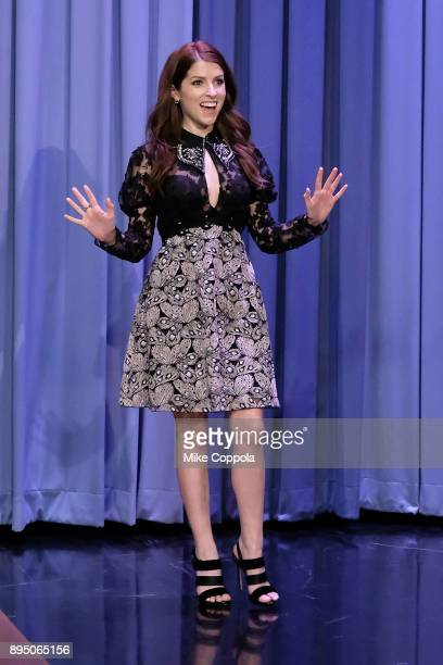 Actress/singer Anna Kendrick visits 'The Tonight Show Starring Jimmy Fallon' at Rockefeller Center on December 18 2017 in New York City