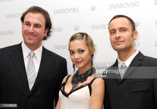 Actress/Singer Anna Tsuchiya and Daniel Swarovski Corporation CEO Robert Buchbauer attend the press preview of Swarovski Ginza Shop Opening on March...
