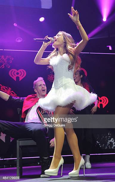 Actress/singer Ariana Grande performs at KIIS FM's Jingle Ball at Staples Center on December 6 2013 in Los Angeles California