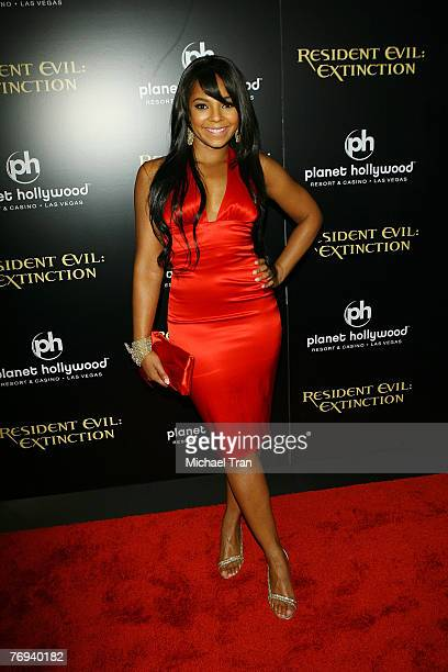 """Actress/singer Ashanti arrives at the World Premiere of """"Resident Evil: Extinction"""" at Planet Hollywood Resort and Casino on September 20, 2007 in..."""