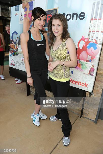 Actress/singer Ashlee SimpsonWentz and actress Anna Kendrick attend the Reebok Women's Fitness event on June 16 2010 in Los Angeles California
