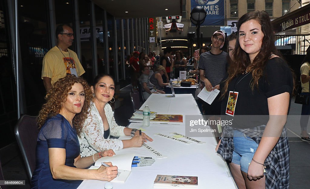 Actress/singer Bernadette Peters and singer/songwriter Gloria Estefan meet the fans at the 18th Annual Broadway Barks! at Shubert Alley on July 30, 2016 in New York City.
