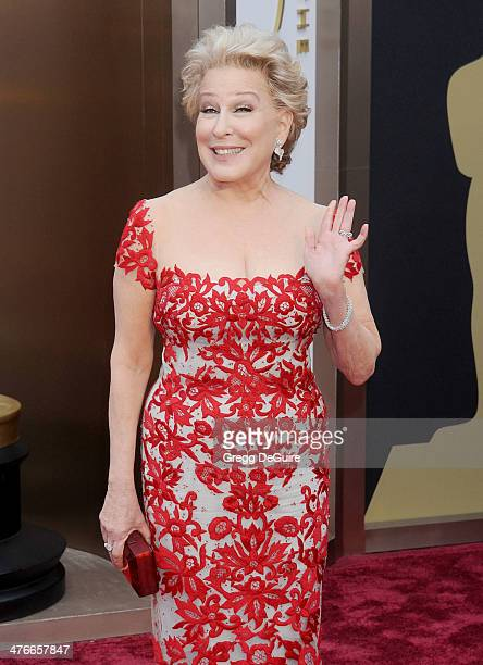 Actress/singer Bette Midler arrives at the 86th Annual Academy Awards at Hollywood Highland Center on March 2 2014 in Hollywood California