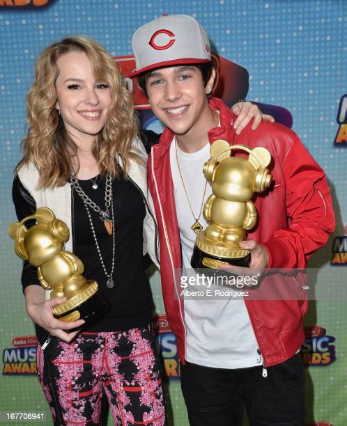 Actress/singer Bridgit Mendler and singer Austin Mahone pose backstage at the 2013 Radio Disney Music Awards at Nokia Theatre LA Live on April 27...