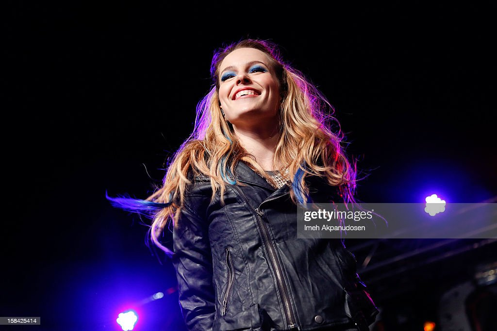 Actress/singer Bridgit Mendler performs onstage at The 3rd Annual Salvation Army Rock The Red Kettle Concert at Nokia Theatre L.A. Live on December 15, 2012 in Los Angeles, California.