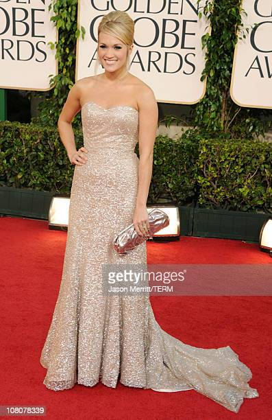 Actress/singer Carrie Underwood arrives at the 68th Annual Golden Globe Awards held at The Beverly Hilton hotel on January 16, 2011 in Beverly Hills,...