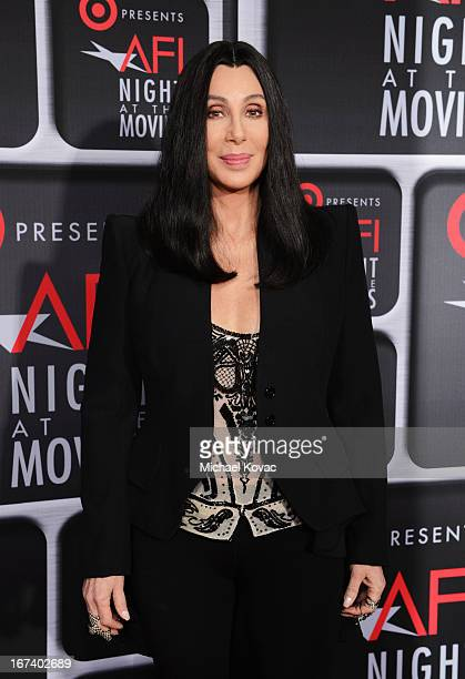 Actress/singer Cher arrives on the red carpet for Target Presents AFI's Night at the Movies at ArcLight Cinemas on April 24 2013 in Hollywood...